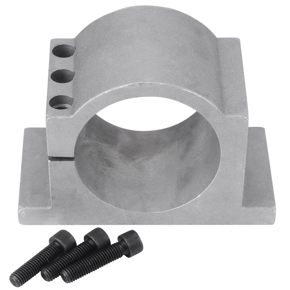 CNC Spindle Motor Mount Bracket Clamp with Screws for Engraving Machine Spindle Motors, Cast Aluminum(for 100mm Spindle Motor)