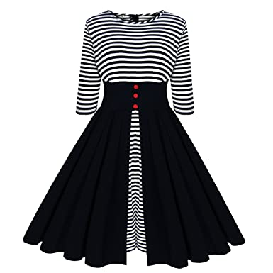 Sz1024 Womens Vintage Striped Rockabilly 1950s Swing Party Cocktail Dresses XX-Large Black