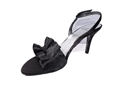 eddbcc272cb Image Unavailable. Image not available for. Color  Stuart Weitzman Womens  Loulou Black Satin Open Toe Heels Sandals ...
