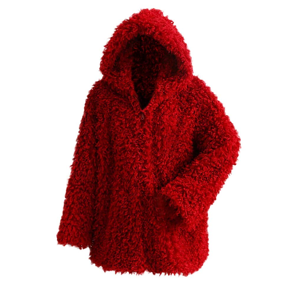Clearance Sale FEDULK Winter Warm Women Hooded Faux Fur Solid Colour Open Front Cardigan Jacket(Wine Red,US Size XS = Tag S)