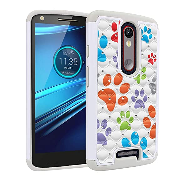 FINCIBO Case Compatible with Motorola Droid Turbo 2 Kinzie XT1585, Dual Layer Hybrid Protector Case