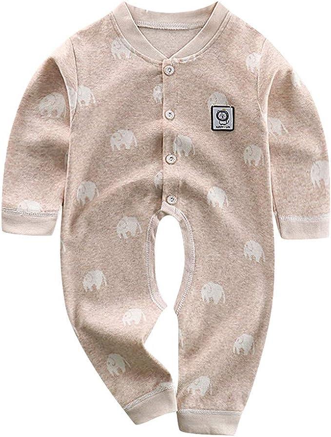 FELZ Bebé Mameluco de Algodón para Onesies Pijamas Conjunto de Ropa Mono Bebe Color Solido Mameluco de Dibujos Animados de Manga Larga para bebés recién Nacidos 3 a 24 Meses: Amazon.es: Ropa