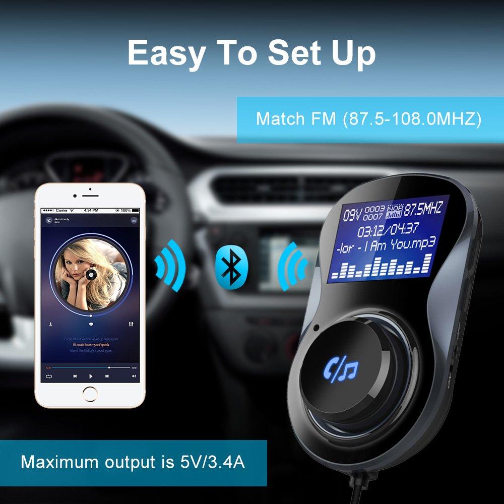 Huawei Radio Musica Receptor Bluetooth 4.1 Leer tarjeta Micro SD//TF con Doble Cargador Puerto USB Guzack Transmisor FM Bluetooth Coche Manos Libres para iPhone Samsung iOS Andriod Smartphone
