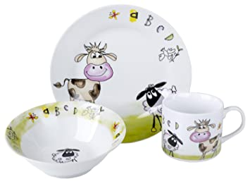 Original Cucina Italiana Porcelain Kids Plates Children Dinnerware 3 Piece Set  sc 1 st  Amazon.com & Amazon.com : Original Cucina Italiana Porcelain Kids Plates ...