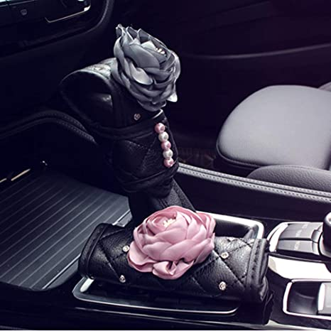 Cute Leather Auto Car Wheel Protector for Women Universal 15 Inch U So Shiny Steering Wheel Cover with Flowers and Pearls