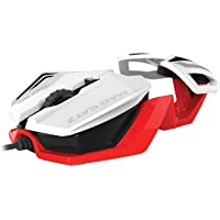 Mad Catz RAT1 Wired Gaming Mouse - White/Red,MCB437260001/06/1