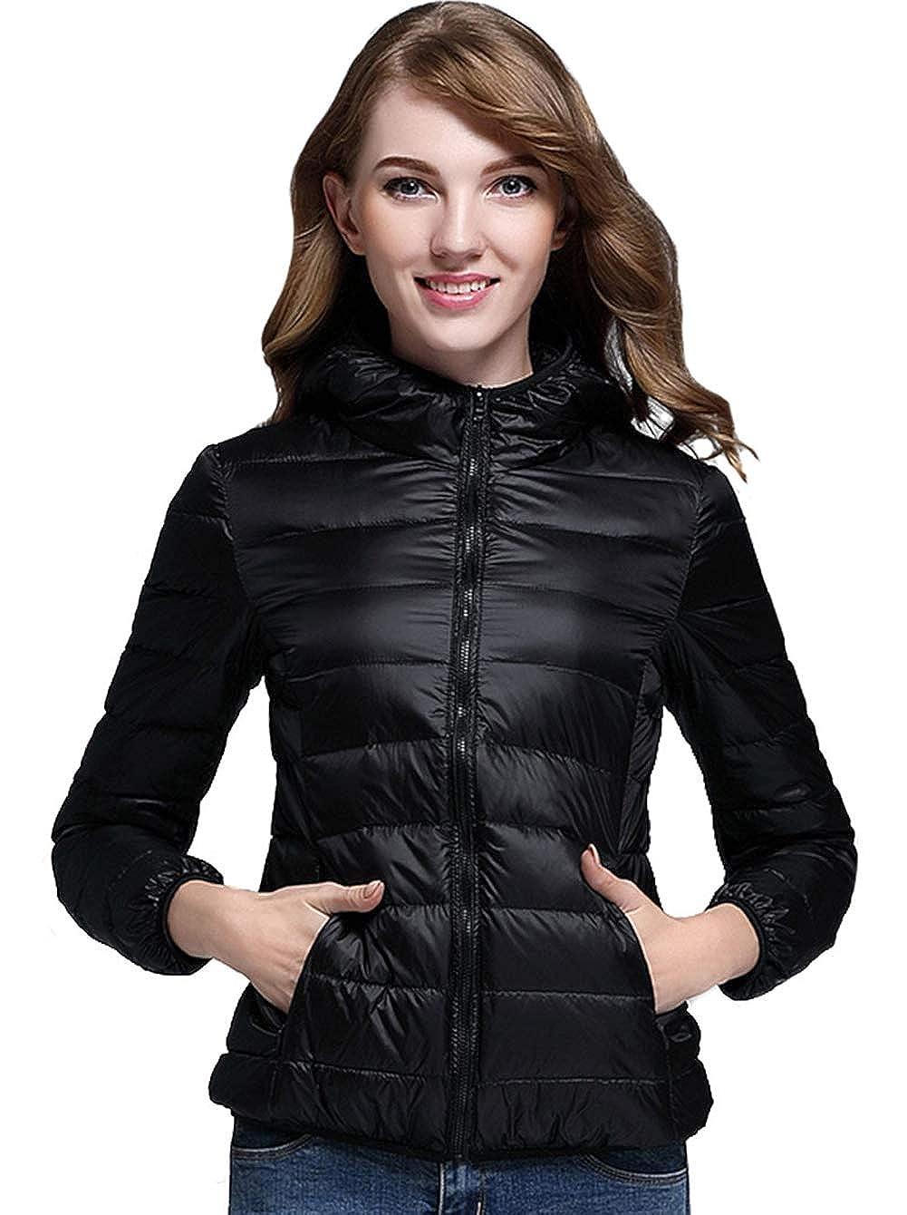801b12d35 sunseen Women's Short Down Coat Thin Packable Travel Hooded Puffer Jacket  Lightweight Outdoor Sports Casual Slim Outerwear