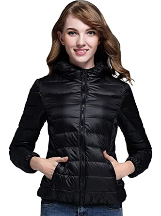 1c9defd66cd Image Unavailable. Image not available for. Color: sunseen Women's Short Down  Coat Thin Packable Travel Hooded Puffer Jacket ...