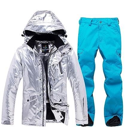 FELICIG Traje de esquí para Mujer Snowboard Impermeable Cortavientos y pantalón Impermeable para la Lluvia,