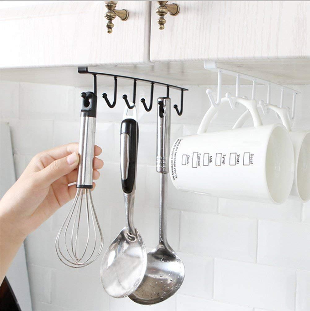 Under Desk Hanging HooksTowel Hanger White Mug Cups Rag Kitchen Storage Hooks Utensil Ties Belts Scarf Hanging Hook Rack Holder Closet 2 Pack