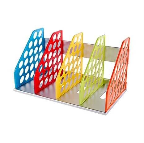 Bandeja de almacenamiento de 4 separadores de colores para revistas, archivadores, archivadores, archivadores