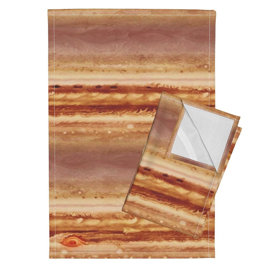 Solar System Tea Towels Map Of Jupiter by Weavingmajor Set of 2 Linen Cotton Tea Towels by Roostery (Image #1)