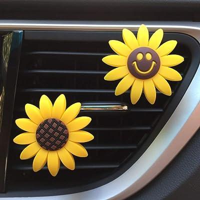 MLOVESIE 2pcs/Pack Smile Car Fragrance Sunflower Car Diffuse Air Freshener with Vent Clip: Automotive