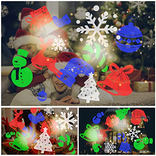Lixada Christmas Projector Lights LED Projection Light 12 Patterns Rotatable Spot Light for Christmas Xmas Halloween Holiday Festival Party Home Decor Decoration Present Gift