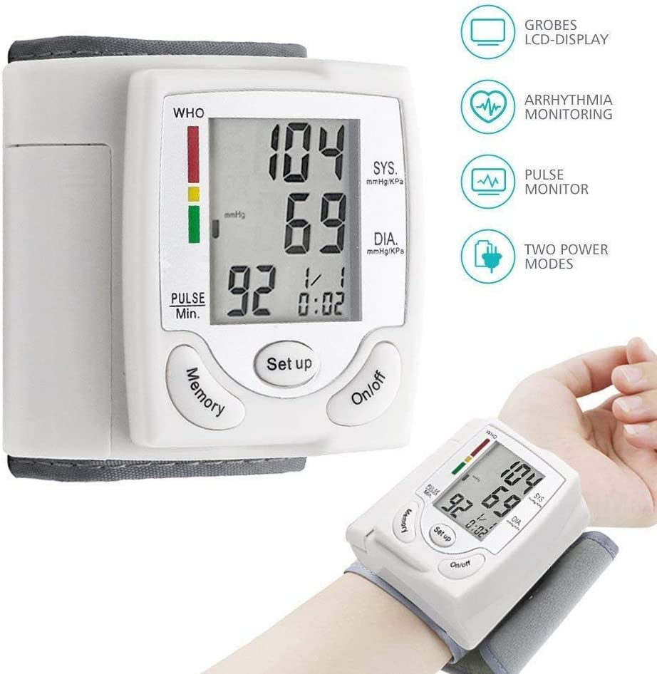 Wrist Blood Pressure Monitor for Home, Fully Automatically Measure Blood Pressure Monitor with Heart Rate Pulse – Large Digital LCD Screen Display White