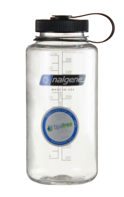 Nalgene Tritan Wide Mouth BPA-Free Water Bottle, 1-Quart (Clear w/ Black Cap, 32-Ounces)