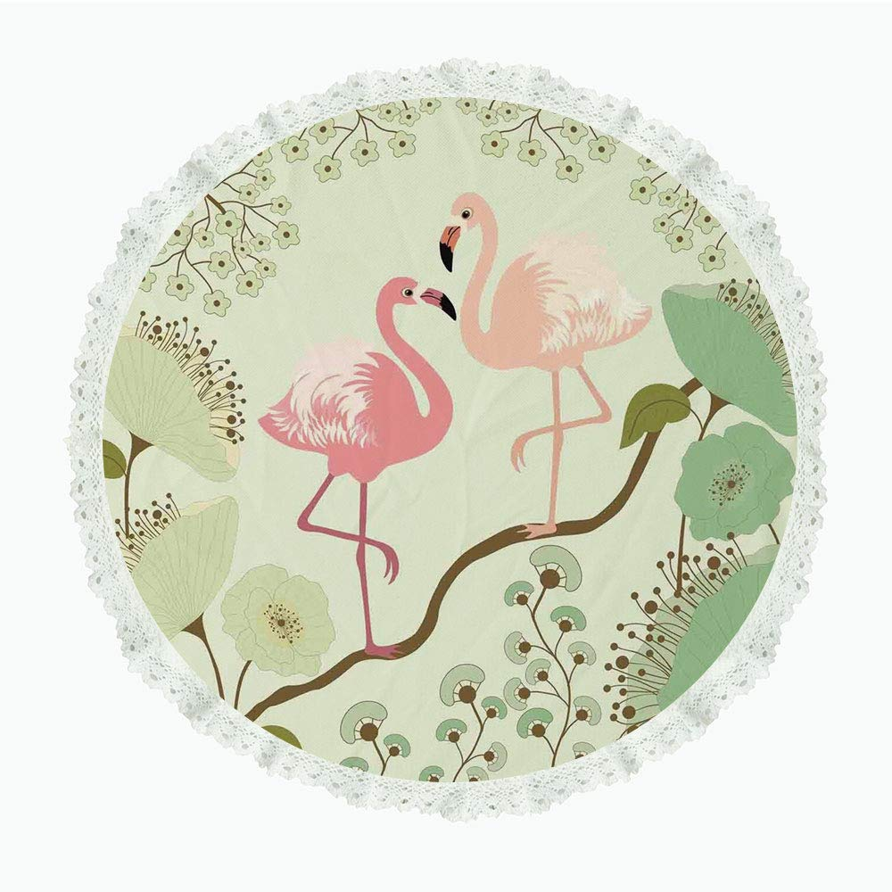 """iPrint 90"""" Round Polyester Linen Tablecloth,Peacock,Blossoming Floral Background with Pair of Flamingos on Tree Branch,Pale Green Pink Salmon,for Dinner Kitchen Home Decor"""