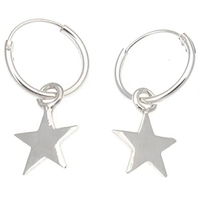 d326b2ce9 Touch Jewellery 925 Sterling Silver 12mm Hoop Earrings with Dangling Star  Charm: Amazon.co.uk: Jewellery