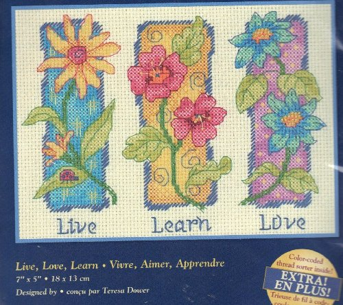 Live, Love, Learn - Counted Cross Stitch Kit - Dimensions Creative Accents (Learn Love Counted Cross Stitch)