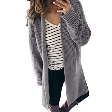 Pervobs Womens Winter Knitted Cardigan Sweater Loose Open Front Solid Long  Sleeve Sweater 367d31f71
