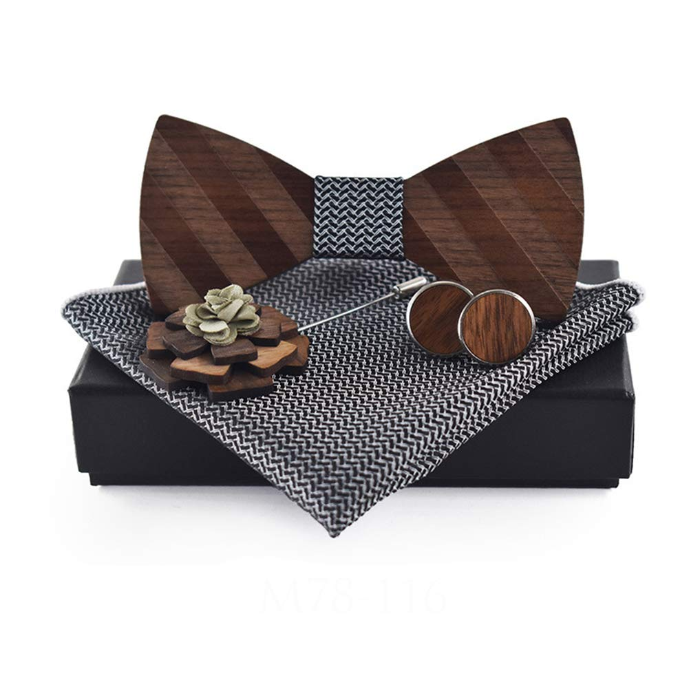 JAJAFOOK Mens Walnut Wood Bowtie Pocket Square /& Wooden Brooch Shirt Bow Tie Set for Anniversary Wedding Gift