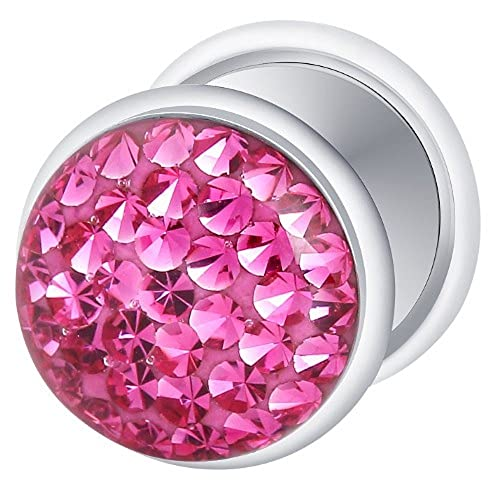 Dilatador Falso Piercing Plug, Pendiente, Multi Cristales Fucsia: Amazon.es: Joyería
