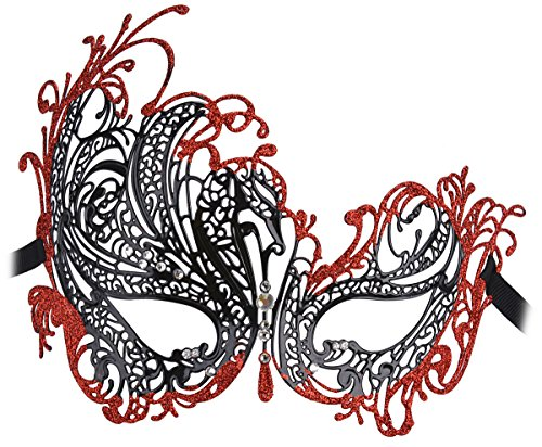 Coxeer Women's Swan Metal Filigree Laser Cut Venetian Masquerade Mask for Prom((Black & Red)