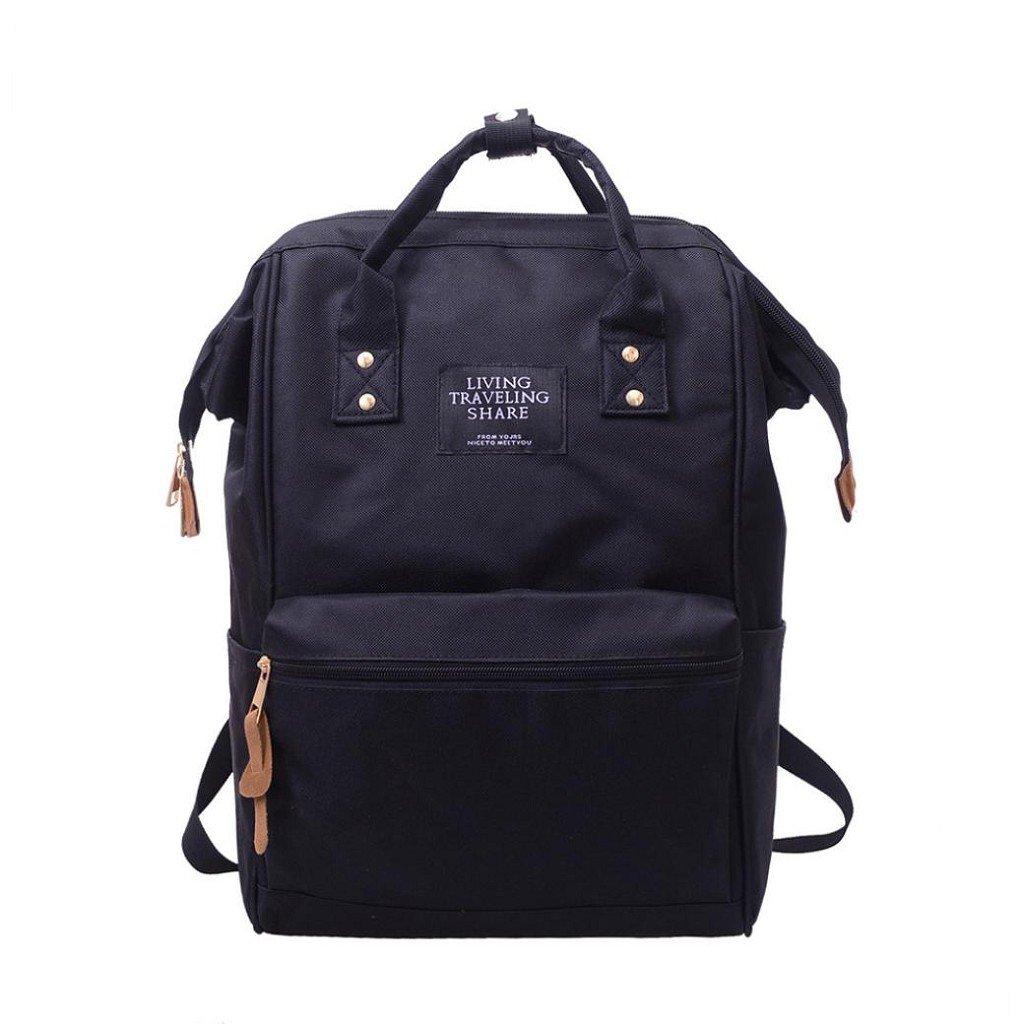 Creazrise Women Backpack ,Unisex Solid Color TravelBackpack Campus Backpacks For Women (Black)