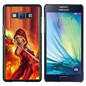 Caucho caso de Shell duro de la cubierta de accesorios de protección BY RAYDREAMMM - Samsung Galaxy A5 A5000 - hendidura atractiva rojo fuego héroe de la espada Mujer