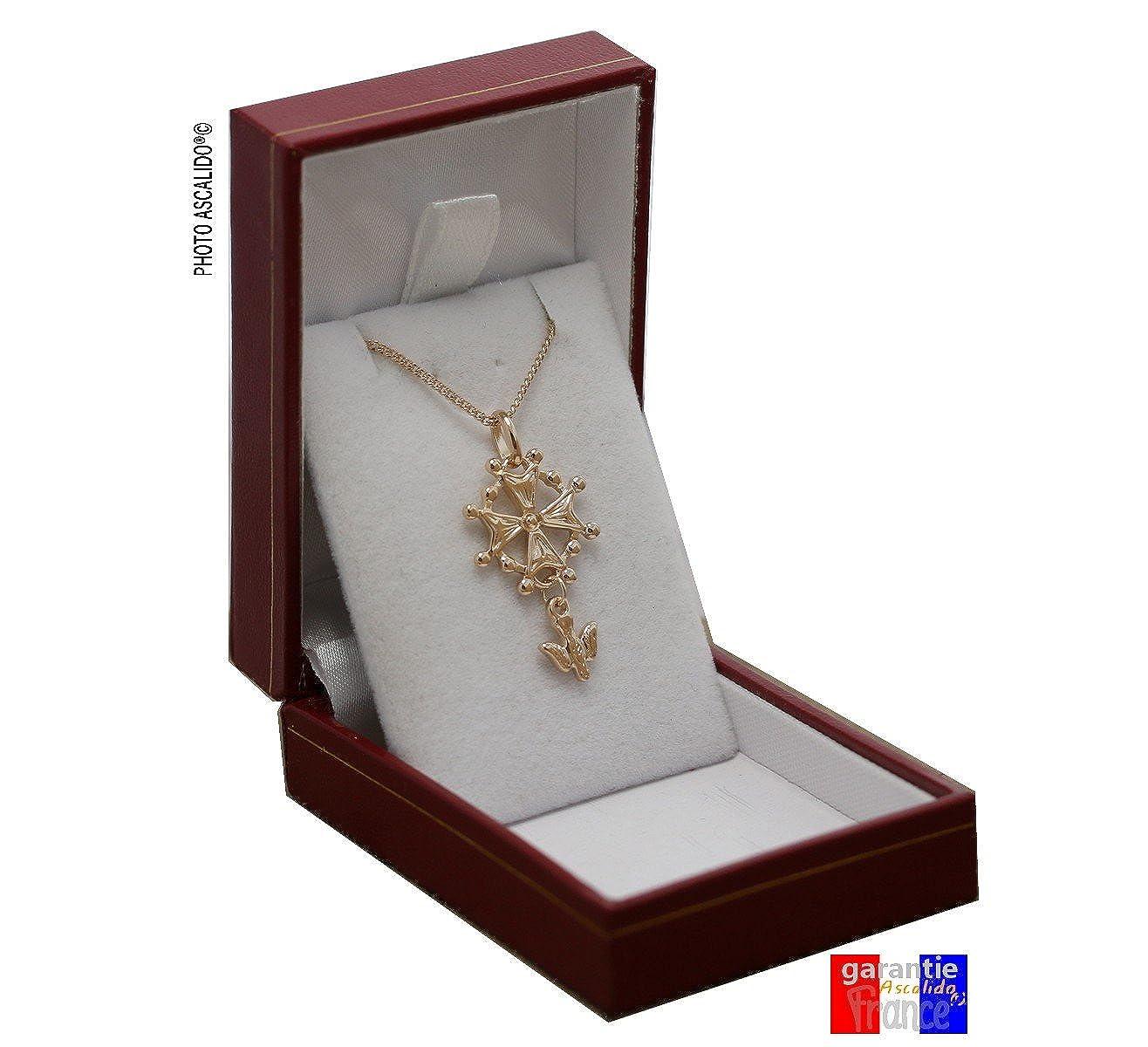 Pendentif huguenot en plaqu/é OR croix protestante et chaine 50cm ensemble dans son coffret /à offrir pour homme