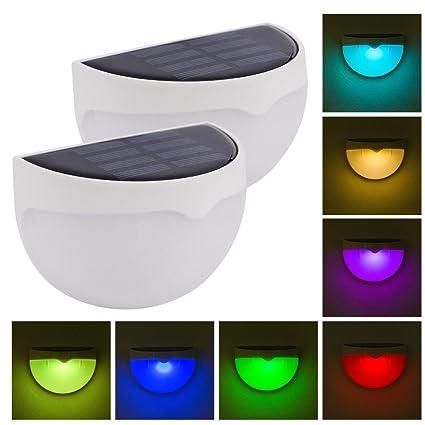 2 Pack RGB Solar Lámparas de Pared Exterior, Coquimbo de Color Estática/Cambio de