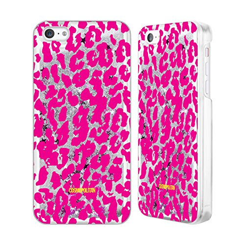 Official Cosmopolitan Pink Cheetah Animal Skin Patterns Silver Liquid Glitter Case Cover for Apple iPhone 5c