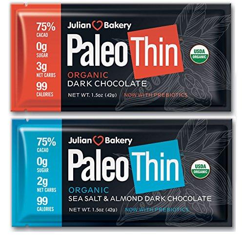 Paleo Thin® Keto Dark Chocolate Bars (Variety Pack) (USDA Organic) (99 Calories : 2 Net Carbs : Gluten-Free : Soy-Free) (6 Bars Total)