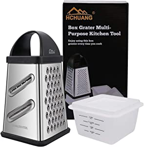Box Grater Multi-Purpose Kitchen Tool(4 Sides),stainless steel graters for kitchen handheld with Storage Container,Best for Vegetables,Parmesan Cheese Ginger, 10-Inch,(Large)