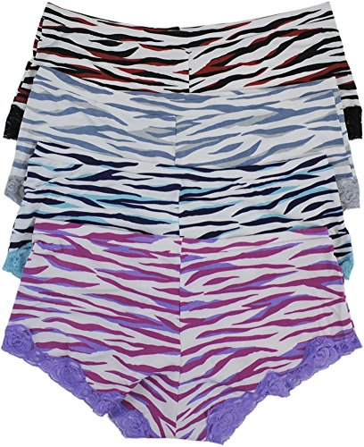 ToBeInStyle Women's Pack of 4 Boyshorts in Zebra Print with Lace - Small (Boyshort Zebra)