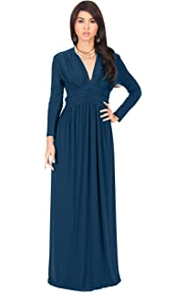 31a881b1f1a2 KOH KOH Sleeve Flowy Empire Waist Fall Winter Party Gown at Amazon ...