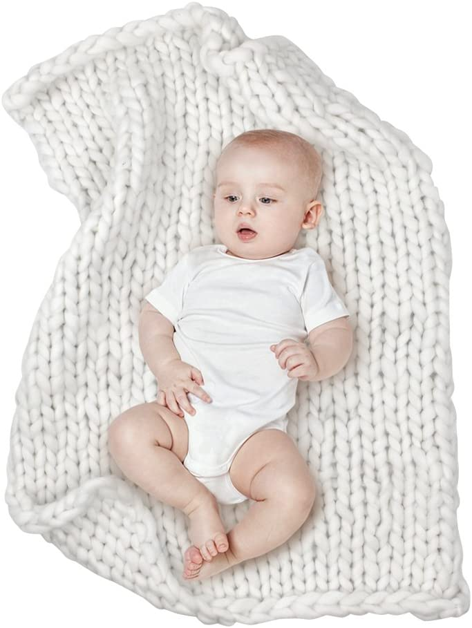 MHJY Chunky Knit Blanket for Baby Photo Props Blanket Newborn Photography Backdrop Rugs Newborn Photo Shoot Blanket (White (Large))