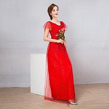 MOM Vestidos de Noche de Fiesta Vestidos de Dama de Honor Rojos Vestidos Largos Delgados Vestidos