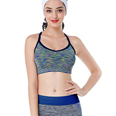 Big Sale Yetou Strappy Sports Pack Yoga Bra Space Dye ...