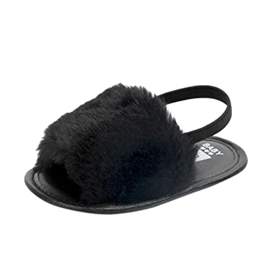 8e6bbbca794f Highpot Baby Girls Faux Fur Slide Slip On Flat Sandal Shoe Infant Crib Shoes  (6