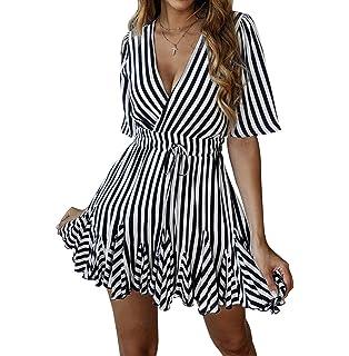 70dd05b04374 PRETTYGARDEN Women's Sexy Deep V Neck Short Sleeve Striped Wrap Ruffle Hem  Pleated Mini Dress with