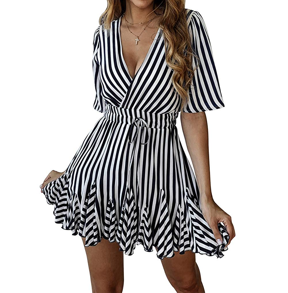 2c117a1f7a75 PRETTYGARDEN Women's Sexy Deep V Neck Short Sleeve Striped Wrap Ruffle Hem  Pleated Mini Dress with Belt at Amazon Women's Clothing store: