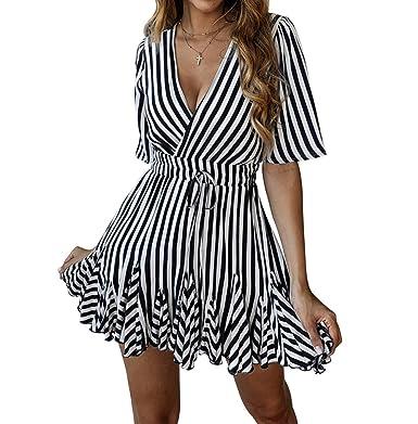 d1b87f6a6fae PRETTYGARDEN Women's Sexy Deep V Neck Short Sleeve Striped Wrap Ruffle Hem  Pleated Mini Dress with