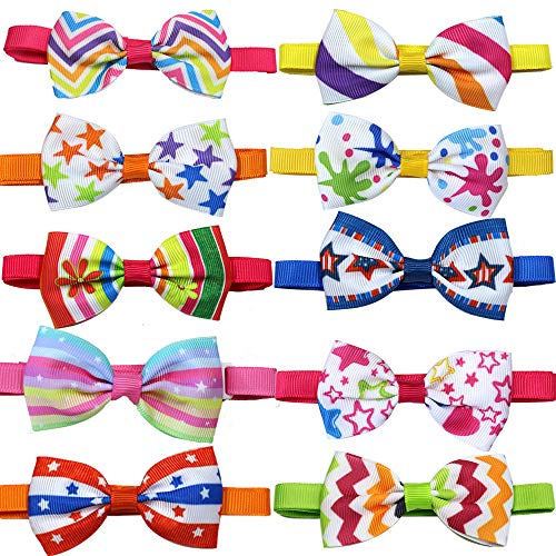 10pcs/pack Super Adorable Pet Puppy Dog Cat Ribbon Bow Ties Stripes/Star styles Adjustable Pet Grooming Ties Pet Supplies