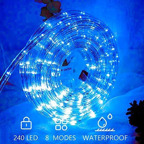 Hengda 10m LED Lichtschlauch Blau 240 LEDs Lichterschlauch Wasserfest Lichterkette Strombetrieben mit 8 Modi für Innen Außen Party Hochzeit Deko Leuchtschlauch