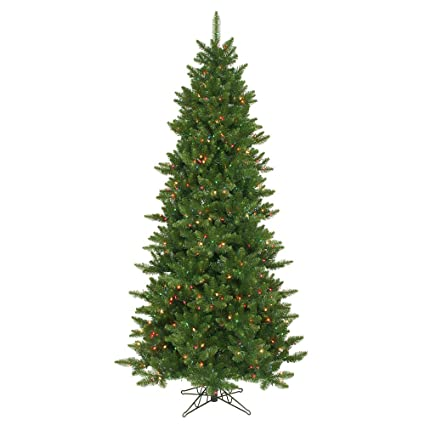 vickerman 75 camdon fir slim artificial christmas tree with 700 multi led lights - Slim Christmas Tree With Led Lights