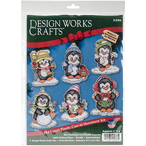 Ornaments Canvas Plastic (Design Works Crafts Penguins on Ice, 3-1/2