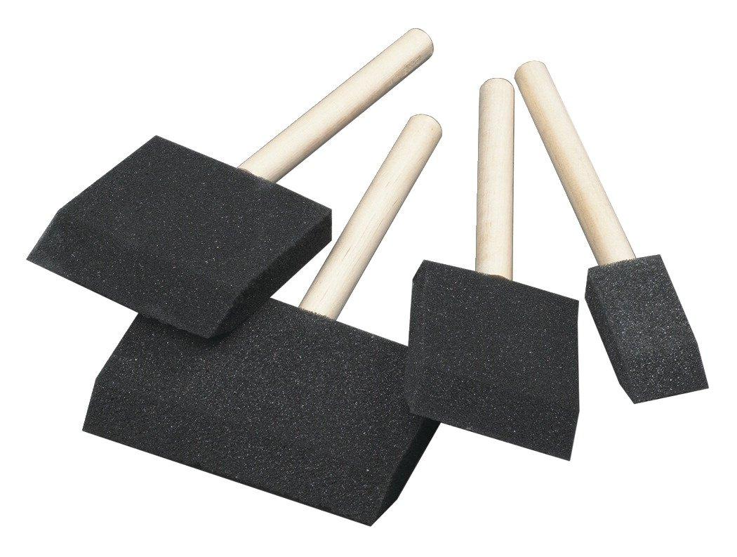 School Smart Wedge Shaped Foam Brush Set - Assorted Sizes - Pack of 48