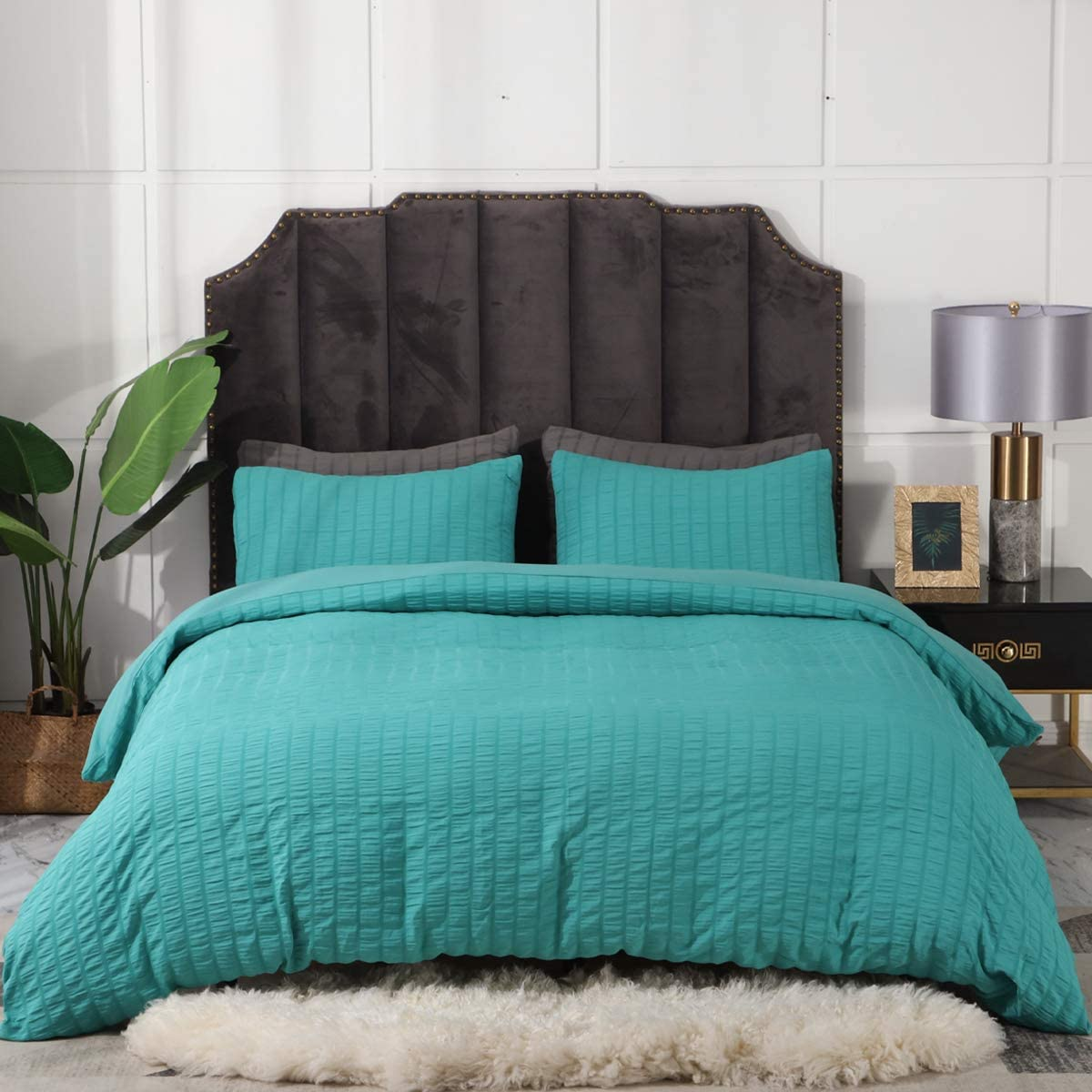 3 Pieces Teal Duvet Cover Set, Seersucker Textured Duvet Cover Set, Lightweight Soft Microfiber Duvet Cover Set, Hotel Quality Full Queen Bedding Set (Teal, Queen