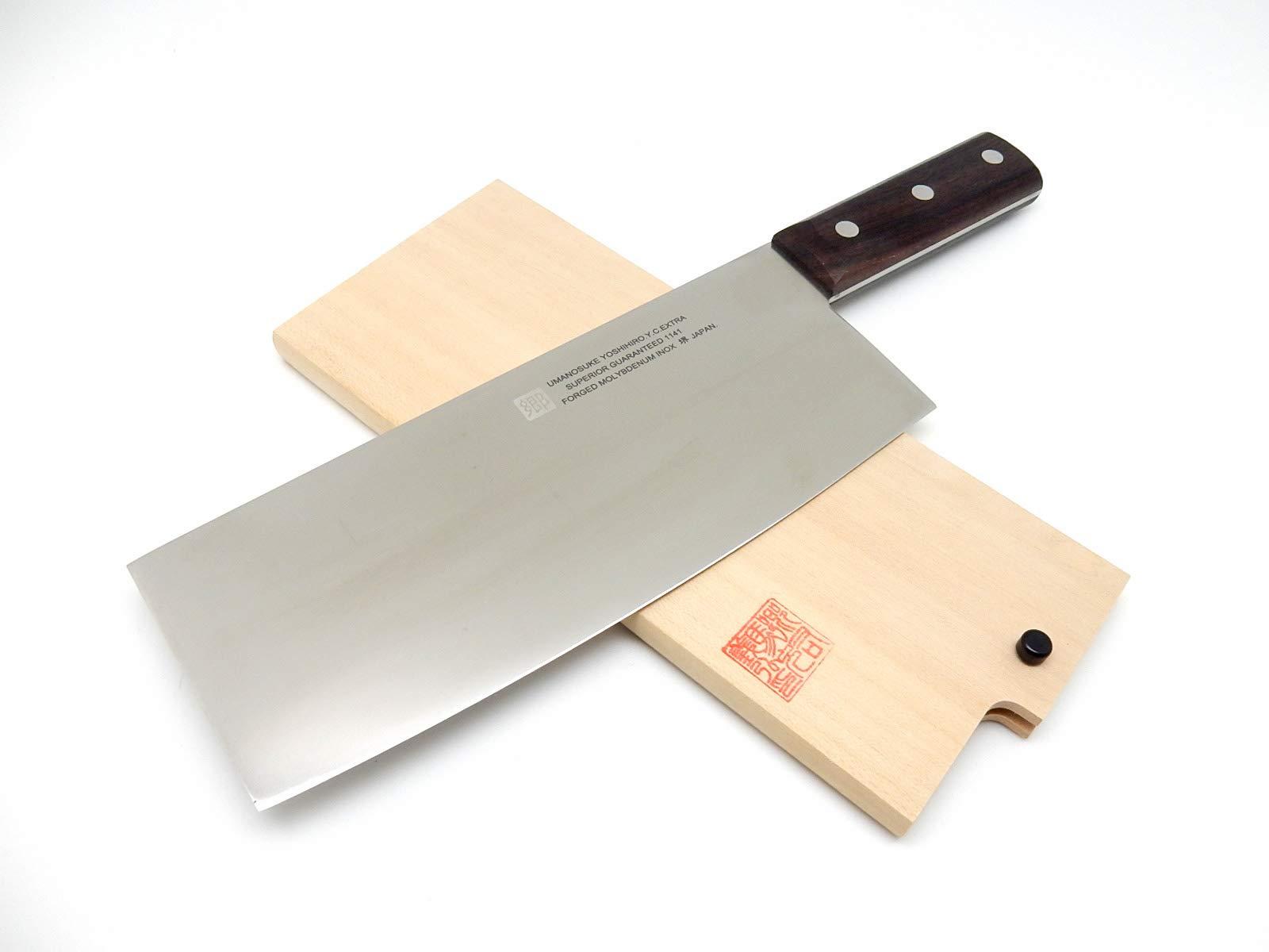 Yoshihiro 8A Mo.V Steel, INOX 1141 Guranteed Chinese Cleaver Knife 220mm/8.7'', with Wooden Saya Cover by Yoshihiro